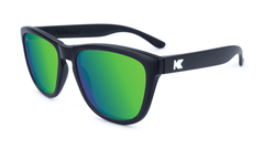 Premiums Sunglasses with Matte Black Frames and Green Moonshine Mirrored Lenses, Flyover