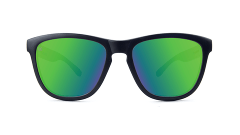 Premiums Sunglasses with Matte Black Frames and Green Moonshine Mirrored Lenses, Back