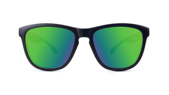 Premiums Sunglasses with Matte Black Frames and Green Moonshine Mirrored Lenses, Front
