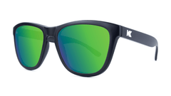 Premiums Sunglasses with Matte Black Frames and Green Moonshine Mirrored Lenses, Threequarter