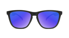 Sunglasses with Black Frame and Polarized Blue Moonshine Lenses, Front