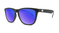 Sunglasses with Black Frame and Polarized Blue Moonshine Lenses, Threequarter