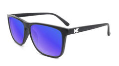 Sunglasses with Matte Black Frames and Polarized Blue Moonshine Lenses, Flyover