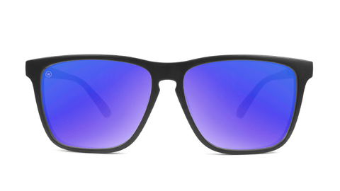 Sunglasses with Matte Black Frames and Polarized Blue Moonshine Lenses, Back