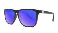 Sunglasses with Matte Black Frames and Polarized Blue Moonshine Lenses, Threequarter