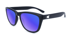 Premiums Sunglasses with Matte Black Frames and Blue Moonshine Mirrored Lenses, Flyover