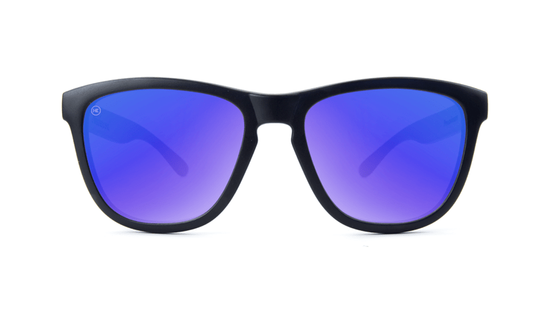 a8b5877c9c13 ... Premiums Sunglasses with Matte Black Frames and Blue Moonshine Mirrored  Lenses, Front ...