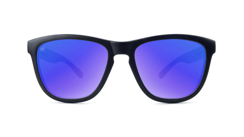 Premiums Sunglasses with Matte Black Frames and Blue Moonshine Mirrored Lenses, Back