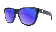 Premiums Sunglasses with Matte Black Frames and Blue Moonshine Mirrored Lenses, Threequarter