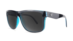 Sunglasses with Black Ocean Geode Frame and Polarized Black Smoke Lenses, Threequarter
