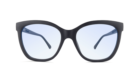 Sunglasses with Matte Black Frames and Clear Blue Light Blocking Lenses, Back