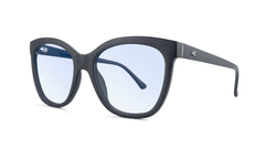 Sunglasses with Matte Black Frames and Clear Blue Light Blocking Lenses, Threequarter