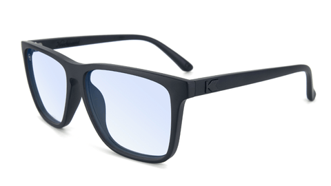 Sunglasses with Matte Black Frames and Clear Blue Light Blocking Lenses, Flyover