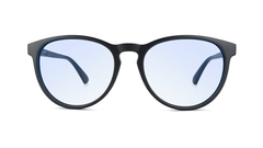 Sunglasses with Matte Black Frames and Clear Blue Light Blocking Lenses, Front