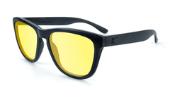 Sunglasses with Black on Black Frame and Blue Light Blocker Lenses, Flyover