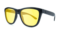 Sunglasses with Black on Black Frame and Blue Light Blocker Lenses, Threequarter