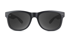 Sunglasses with Matte Black Frames and Polarized Black Smoke Lenses, Front