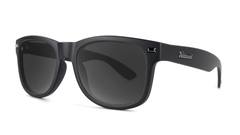 Sunglasses with Matte Black Frames and Polarized Black Smoke Lenses, Threequarter