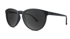 Sunglasses with Matte Black Frame and Polarized Smoke Lenses, Threequarter