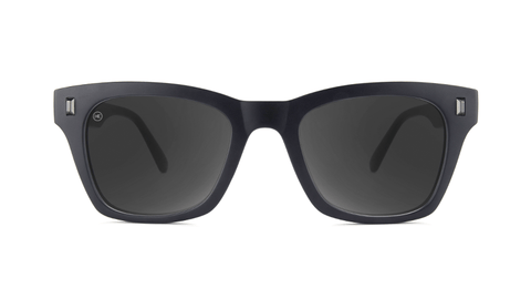 Sunglasses with Matte Black on Black Frames and Polarized Smoke Lenses, Back