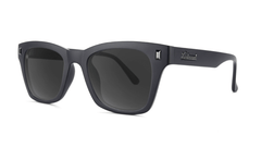 Sunglasses with Matte Black on Black Frames and Polarized Smoke Lenses, Threequarter