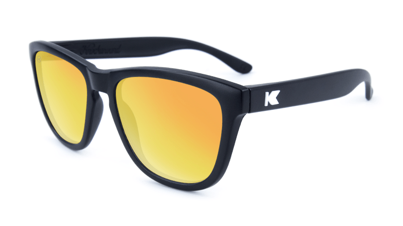 Premiums Sunglasses with Matte Black Frames and Yellow Sunset Mirrored Lenses, Flyover