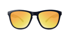 Premiums Sunglasses with Matte Black Frames and Yellow Sunset Mirrored Lenses, Front