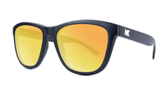 Premiums Sunglasses with Matte Black Frames and Yellow Sunset Mirrored Lenses, Threequarter