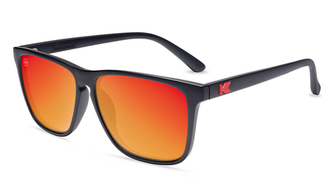 Sunglasses with Matte Black Frames and Polarized Red Sunset Lenses, Flyover