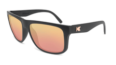 Sunglasses with Matte Black Frames and Polarized Rose Gold Lenses, Flyover