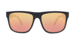 Sunglasses with Matte Black Frames and Polarized Rose Gold Lenses, Front