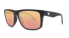Sunglasses with Matte Black Frames and Polarized Rose Gold Lenses, Threequarter