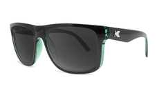 Sunglasses with Glossy Black Sage Frames and Polarized Black Smoke Lenses, Threequarter