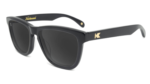 Deluxe Sunglasses with Glossy Black Frame and Polarized Black Smoke Lenses, Flyover