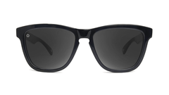 Deluxe Sunglasses with Glossy Black Frame and Polarized Black Smoke Lenses, Front