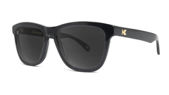 Deluxe Sunglasses with Glossy Black Frame and Polarized Black Smoke Lenses, Threequarter