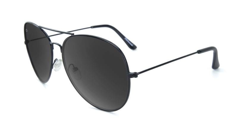 Sunglasses with Black Metal Frame and Polarized Black Smoke Lenses, Flyover
