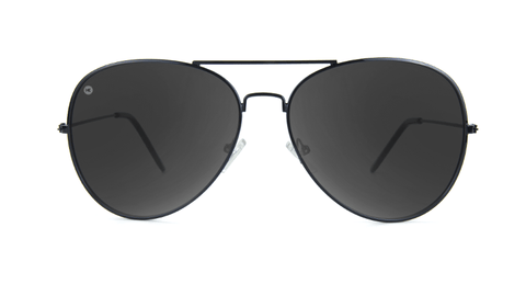 Sunglasses with Black Metal Frame and Polarized Black Smoke Lenses, Back