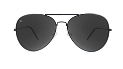 Sunglasses with Black Metal Frame and Polarized Black Smoke Lenses, Front