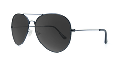 Sunglasses with Black Metal Frame and Polarized Black Smoke Lenses, Threequarter