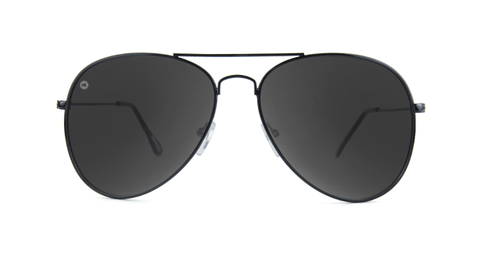 Knockaround Mile Highs Sunglasses with a Black Metal Frame and Polarized Smoke Lenses, Back