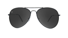 Knockaround Mile Highs Sunglasses with a Black Metal Frame and Polarized Smoke Lenses, Front