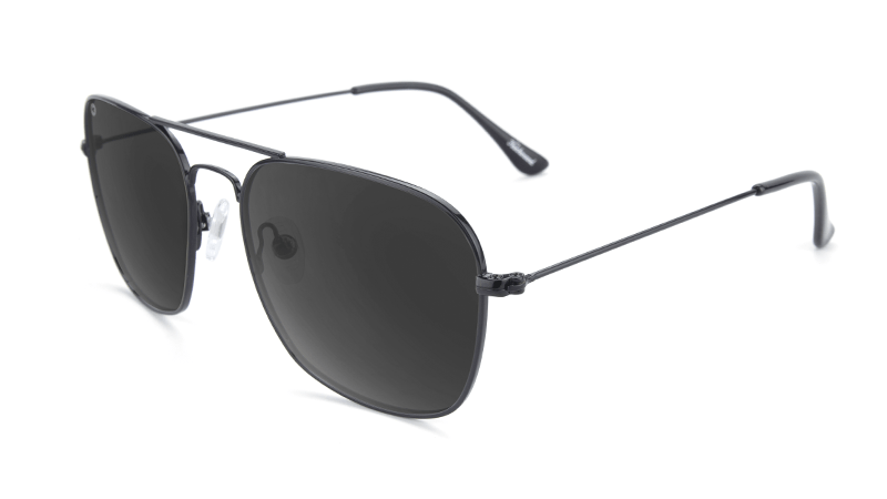 Sunglasses with Black Metal Frame and Polarized Smoke Lenses, Flyover