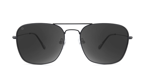 Sunglasses with Black Metal Frame and Polarized Smoke Lenses, Back