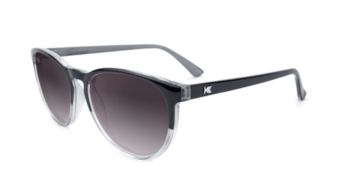 Sunglasses with Glossy Black and Clear Frame and Polarized Smoke Lenses, Flyover