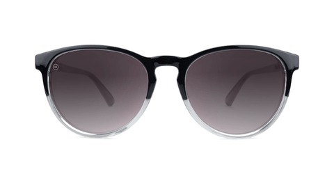 Sunglasses with Glossy Black and Clear Frame and Polarized Smoke Lenses, Back