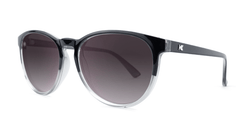 Sunglasses with Glossy Black and Clear Frame and Polarized Smoke Lenses, Threequarter