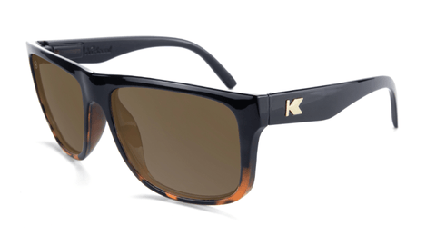Sunglasses with Glossy Black and Tortoise Shell Fade Frame and Polarized Amber Lenses, Flyover