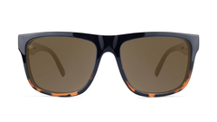 Sunglasses with Glossy Black and Tortoise Shell Fade Frame and Polarized Amber Lenses, Front