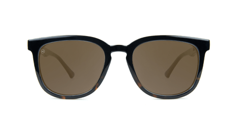 Sunglasses with Glossy Black Tortoise Shell Fade and Polarized Amber Lenses, Back